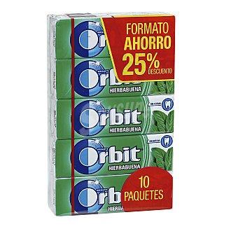 Orbit Chicle grageas sabor hierbabuena paquete 10 uds