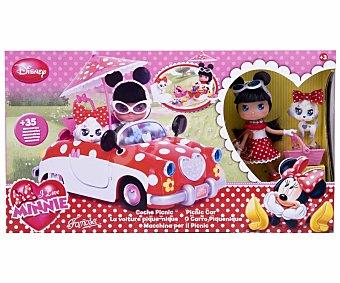 DISNEY Muñeca Minnie con Coche y Accesorios de Picnic, I Love Minnie 1 Unidad