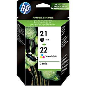 HP Nº 21 + 22 cartuchos de tinta en color negro y tricolor Pack de 2