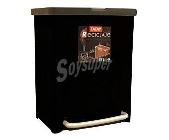 Tatay Cubo de basura con espacio para reciclar, capacidad 17 litros 1 unidad