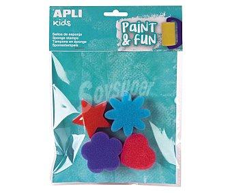 APLI Sellos de esponja, 4 diseños de formas geometricas, fácil de utilizar, appli