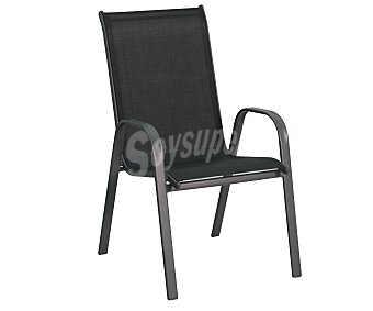 GARDEN STAR Silla fija y apilable para jardín. Fabricada en acero con asiento de textileno de color negro y medidas: 71x55x96 centímetros 1 unidad