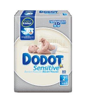 Dodot Pañal sensitive recién nacido T2 3-6 Kg. Paquete de 80 ud