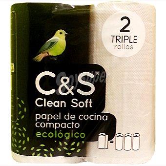 Clean soft Rollos de cocina ecológico multiusos compacto maxirollo paquete 2 unidades Unidades
