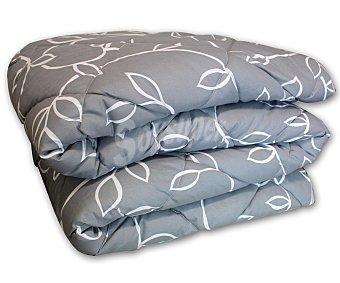 AUCHAN Edredón estampado ramas color gris para cama doble 1 Unidad