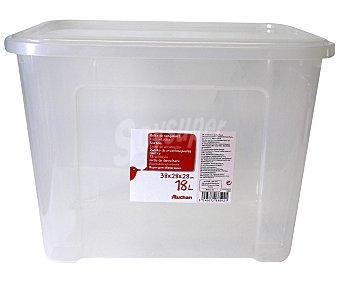 AUCHAN Caja de ordenación con tapa, capacidad de 18 litros, fabricada en plástico transpartente, 37,7x27,7x27,8 centímetros 1 Unidad