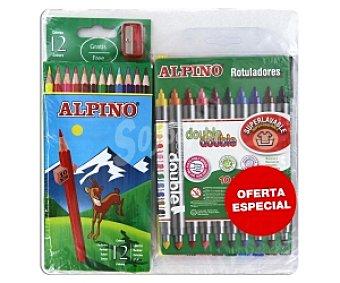 Alpino Caja de 12 lápices para colorear y 10 rotuladores de doble punta fina-gruesa con tinta lavable 1 unidad
