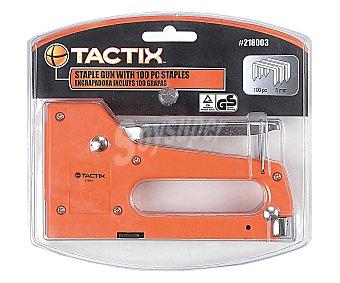 TACTIX Grapadora / Clavadora Profesional de Aluminio + 100 Grapas de 8 Milímetros 1 Unidad