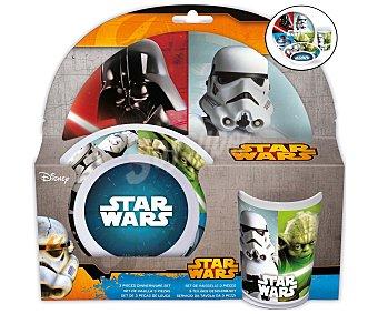 Star Wars Set de merienda fabricado en melamina con diseño de Star Wars, incluye 1 plato, 1 cuenco y 1 vaso 1 unidad