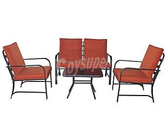 GARDEN STAR Conjunto de 4 piezas, compuesto por 1 mesa y 2 sillones, y 1 sofa de 2 plazas con sus respectivos cojines, con estructura de acero y los cojines son llevan funda textil 1 unidad