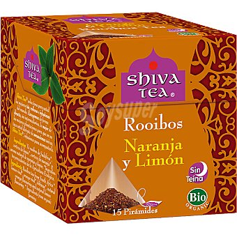 SHIVA TEA Rooibos naranja y limón sin teína 15 bolsitas Caja 30 g