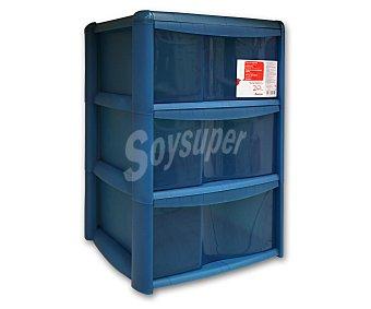 Auchan Torre de ordenación de 3 cajones fabricada en plástico azul translúcido 1 Unidad