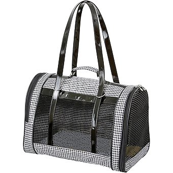 KARLIE Bolso mochila para mascotas modelo Pepita color negro y blanco medidas 42x24x30 cm 1 unidad 1 unidad