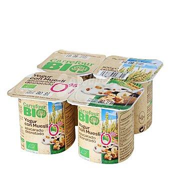 Carrefour Bio Yogur con muesli azucarado desnatado 4x 125g