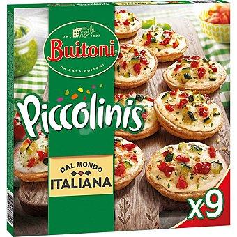 Buitoni Piccolinis Italiana mini pizzas de calabacín y tomates marinados 9 unidades Estuche 270 g