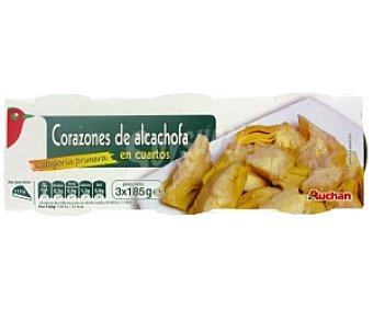 Auchan Alcachofa en cuartos Pack 3 latas de 125 Gramos