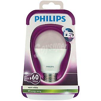 Philips (60W) Lámpara led blanco cálido casquillo E27 (grueso) Estandar Opaca 11 W 1 unidad