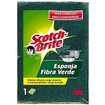 Scotch Brite Estropajo de fibra verde con esponja Pack 1 unid