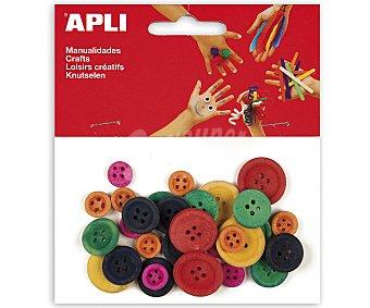 APLI Bolsa de 30 botones de madera de diferentes colores y tamaños 1 unidad