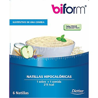 Biform dietisa natillas sabor yogur sustitutivas 6 sobres estuche 312 g 6 estuche 312 g