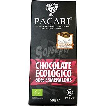 Pacari Chocolate negro 60% esmeraldas ecológico tableta 50 g tableta 50 g