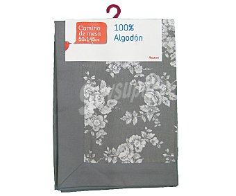 Auchan Camino de mesa estampado color gris claro, algodón, 50x145 centímetros 1 Unidad