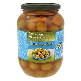Carrefour Aceituna verde aliñada partida 500 g
