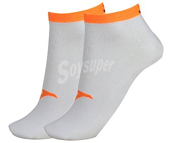JOMA Pack de 2 pares de calcetines deportivos tobilleros invisibles, color blanco y naranja fluor, talla 39/42 Pack de 2
