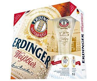 Erdinger Cerveza de trigo más un vaso de regalo Pack de 5 botellas de 50 centilitros