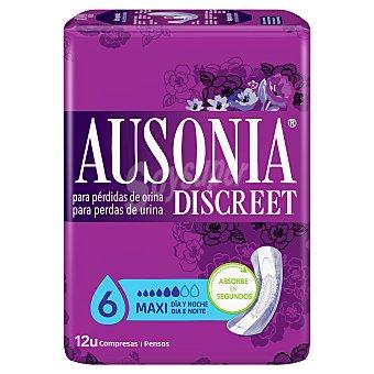Ausonia Compresa maxi día y noche para pérdidas de orina Discreet Bolsa 12 unidades