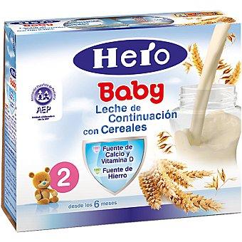 Hero Baby Leche de continuación con cereales estuche 500 ml Pack 2x250 g