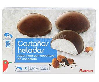 Auchan Castañas heladas rellenas de nata 4 unidades 180 gramos
