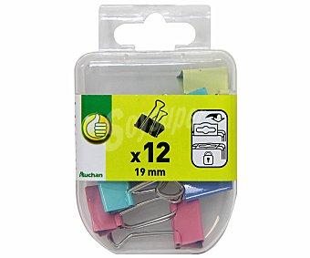 Productos Económicos Alcampo Caja de 12 pinzas abatibles de 19 milímetros y de diferentes colores 1 unidad