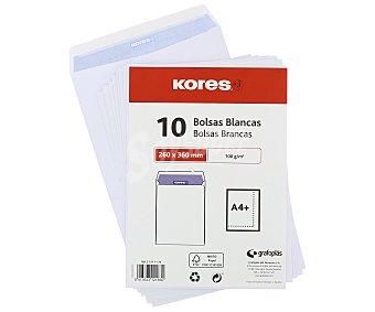 Kores Sobres de tamaño 260 x 360 milímetros, peso de 100 gramos/m² y de color blanco 25 unidades