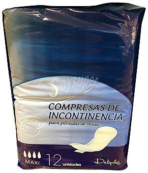 Deliplus Compresa incontinencia maxi (absorción 4) Paquete 12 u