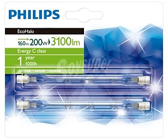Philips Lámpara EcoHalo linear halógena 118mm 240W blanco cálido, casquillo R7s, 230V 2u