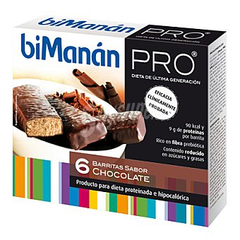 Bimanan Barritas de chocolate Pro, producto hiperproteico e hipocalórico para dieta de reducción de peso bimanán Método Pro 6 Unidades de 27 Gramos 6x27g