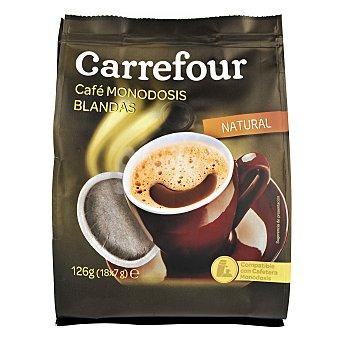 Carrefour Café natural monodosis blandas Pack de 18x7 g
