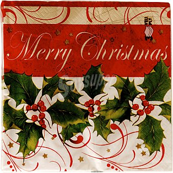 Nv corporacion servilletas Merry Christmas 3 capas 33X33 cm  paquete 20 unidades