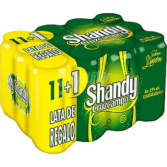 Shandy Cruzcampo cerveza sabor limón + 1 lata gratis pack 11 latas 33 cl