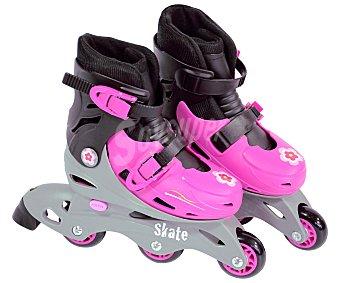 Saica Patines en línea color rosa ajustables de la talla 35 a 38, Skate SAICA.
