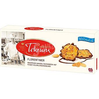 TEKRUM Florentinas Láminas de almendra caramelizada sobre una base de chocolate con leche Estuche 100 g
