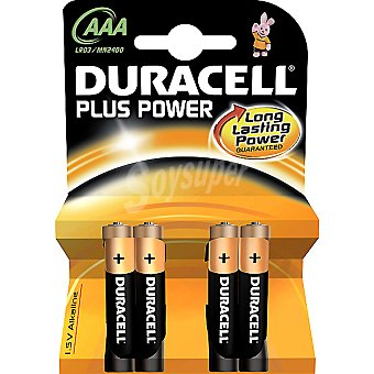 DURACELL LR03 AAA Pilas alcalinas Plus Power blister 4 unidades 4 unidades