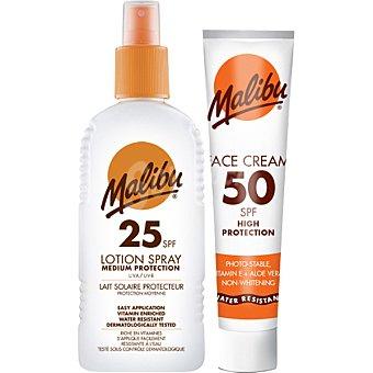 Malibu Spray loción solar FP-25 resistente al agua + crema facial FP-50 spray de 200 ml