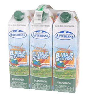 Central Lechera Asturiana Leche desnatada clásica Pack de 8 botellas de 1 litro