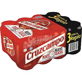 Cruzcampo Cerveza rubia nacional  Pack 9 latas 33 cl + 3 gratis