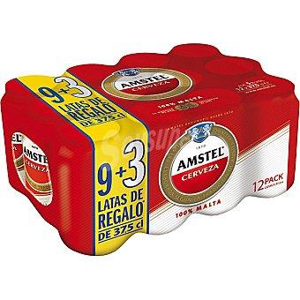 AMSTEL cerveza rubia nacional + 3 gratis pack 9 latas 37,5 cl