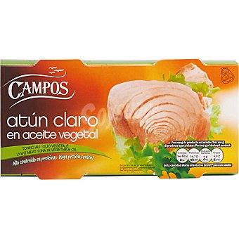 Campos Atún claro en aceite vegetal Pack 2 latas 104 g
