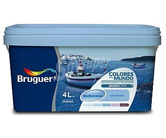 BRUGUER Pintura Plástica Monocapa de Interior, Color Azul Mediterráneo, Colores del Mundo 4 Litros