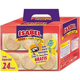 ISABEL atún en aceite vegetal neto escurrido + regalo de bodyboard hinchable pack 24 latas 52 g